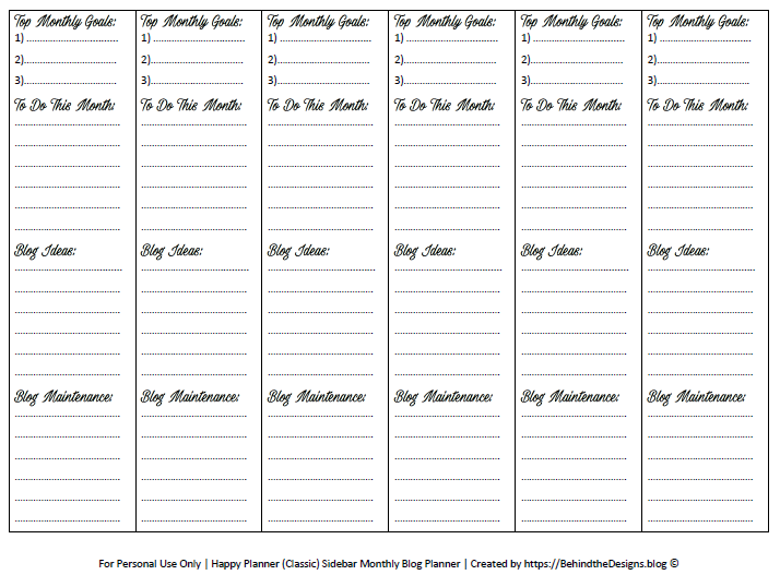 photo relating to Blog Planner Printable identify Month-to-month Website Planner Aims Sidebar Sticker -No cost Planner