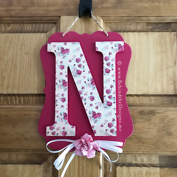 Initial Door Hanger in Shabby Chic Pink Rose