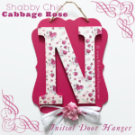 Shabby Chic Cabbage Rose Initial Door Hanger in Pink