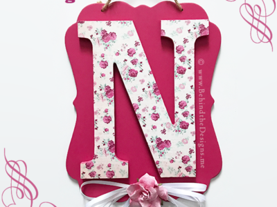 Easy DIY Shabby Chic Cabbage Rose Initial Door Hanger